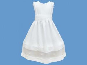 Lniana sukienka do komunii Biała Orchidea art. 353(ko) - df