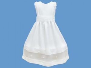Lniana sukienka do komunii Biała Orchidea art. 353 - MN-05-01-1-353
