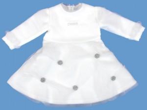 Polarowa biała sukienka Śnieżynka art. 001 - MN-03-02-1-001