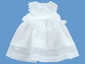 Lniana sukienka do chrztu Biała orchidea art. 389 - MN-05-01-1-389