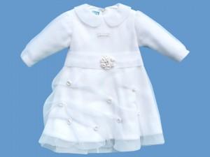 Polarowa biała sukienka Zimowy Ogród art. 002 - MN-03-02-1-002