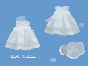 Satynowa sukienka do chrztu Biała orchidea (1) art.389 - MN-06-02-1-723
