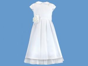 Satynowa biała sukienka do komunii Uśmiech Elfa (1) art. 728 - MN-07-01-1-1333