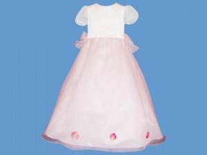 Satynowa biała sukienka do komunii Romantyczna Różyczka (1) art. 511 - MN-05-02-1-511