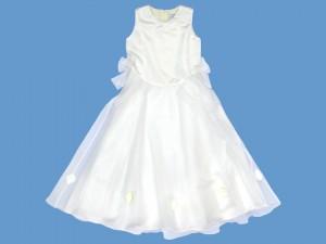 Satynowa ecru sukienka do komunii Romantyczna Różyczka (2) art. 510 - MN-05-02-1-510